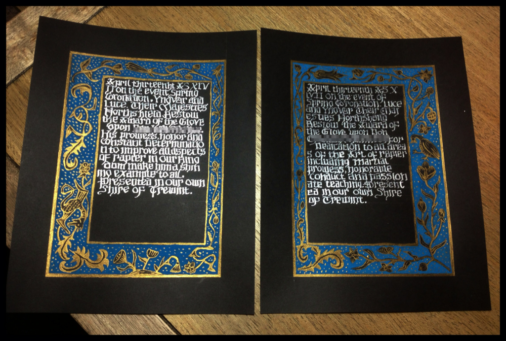 Black Hours style scrolls  for the Award of the Glove for Cyveiliog McKinley and Jock McKee