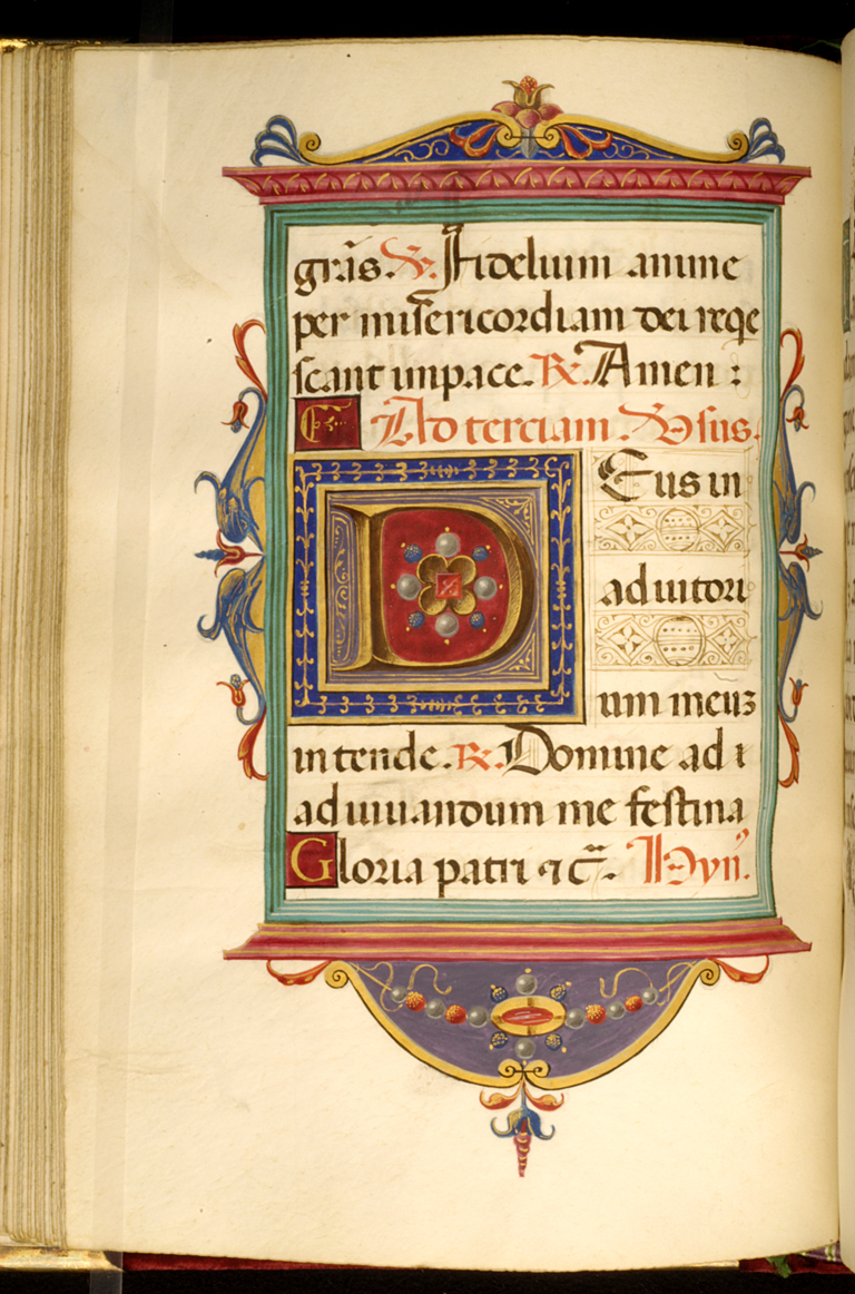 Francesco Marmitta. 'Leaf from Rangoni Bentivoglio Book of Hours,' ca. 1505. ink, paint and gold on parchment. Walters Art Museum (W.469.48V): Acquired by Henry Walters.